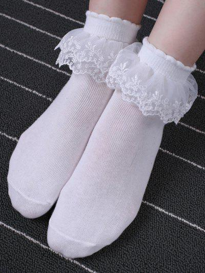 Layers Mesh Lace Anklet Cotton Socks - White