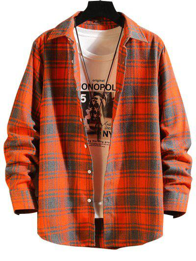 Plaid Button Down Long Sleeve Shirt - Pumpkin Orange M