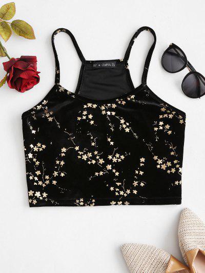 ZAFUL Sparkly Flower Velvet Racerback Cami Top - Black L