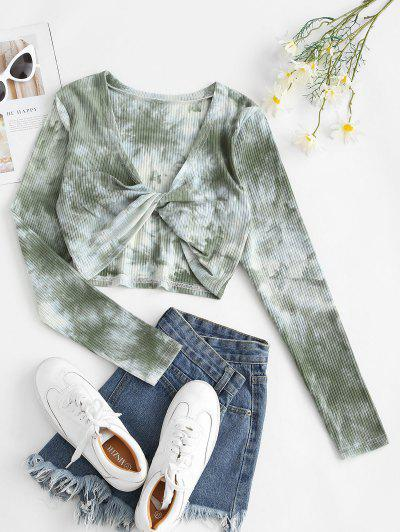 Twisted Front Ribbed Tie Dye Tee - Light Green S
