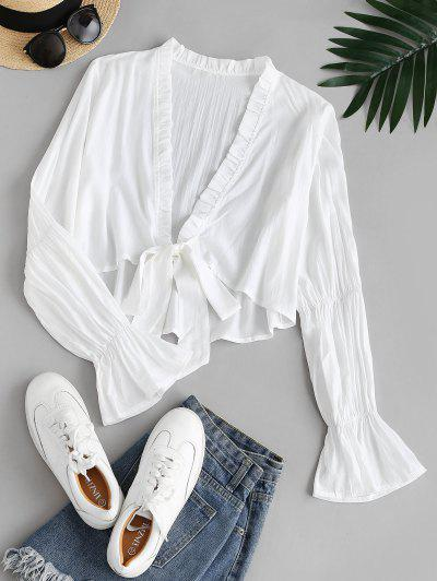 Ruffle Cuff Frilled Plunge Blouse - White S