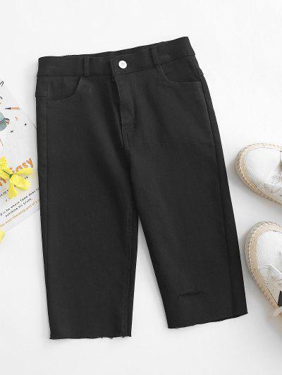 Ripped Frayed Hem Denim Bermuda Shorts - Black 2xl