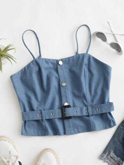 Denim Crop Belted Cami Top - Light Blue S