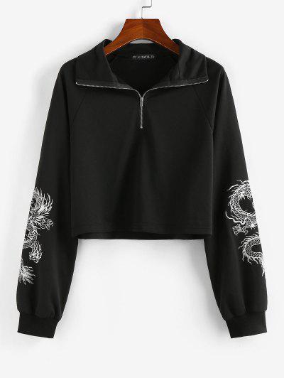 ZAFUL Sweat-shirt Dragon Oriental Imprimé - Noir S