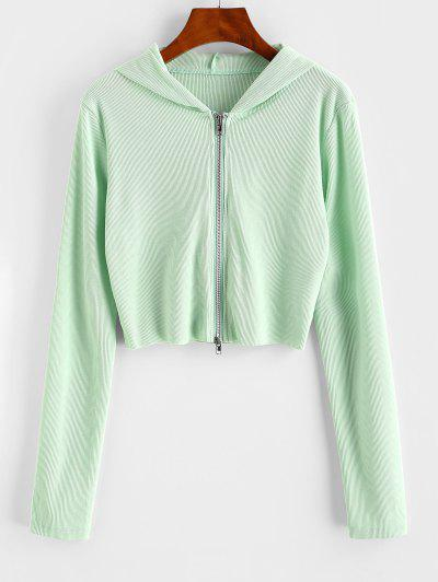 Ribbed Raw Hem Full Zip Hoodie - Light Green S