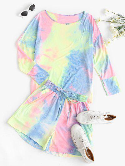 Dolman Sleeve Tie Dye Two Piece Set - Multi-a L