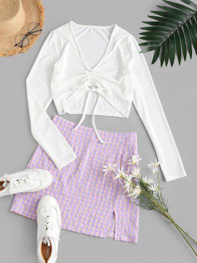 Cinched Plaid Ribbed Slit Two Piece Dress - Light Purple M