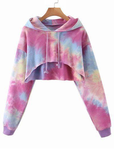 Tie Dye French Terry Cropped Hoodie - Bright Neon Pink S