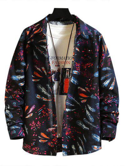 Feather Floral Print Button Down Shirt - Multi-a 2xl