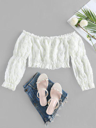 ZAFUL Crinkle Ruffle Plaid Off Shoulder Blouse - Cool White M