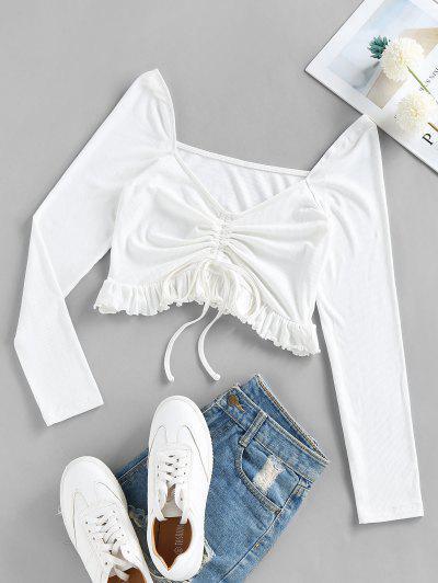 ZAFUL Enrugado T-shirt Da Colheita Cortado - Leite Branco S