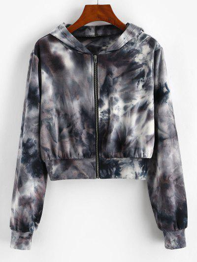 ZAFUL Tie Dye Zip Up Crop Hoodie - Black L