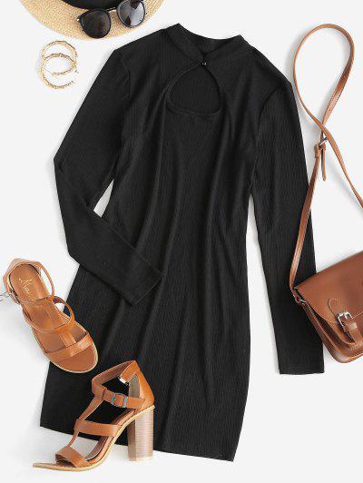 ZAFUL Ribbed Tight Mini Dress - Black S