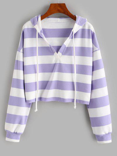 ZAFUL Colorblock Stripe Cropped Hoodie - Mauve S