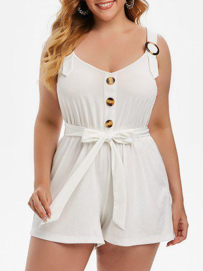Plus Size Buttoned Sweetheart Neck Belted Romper - White L