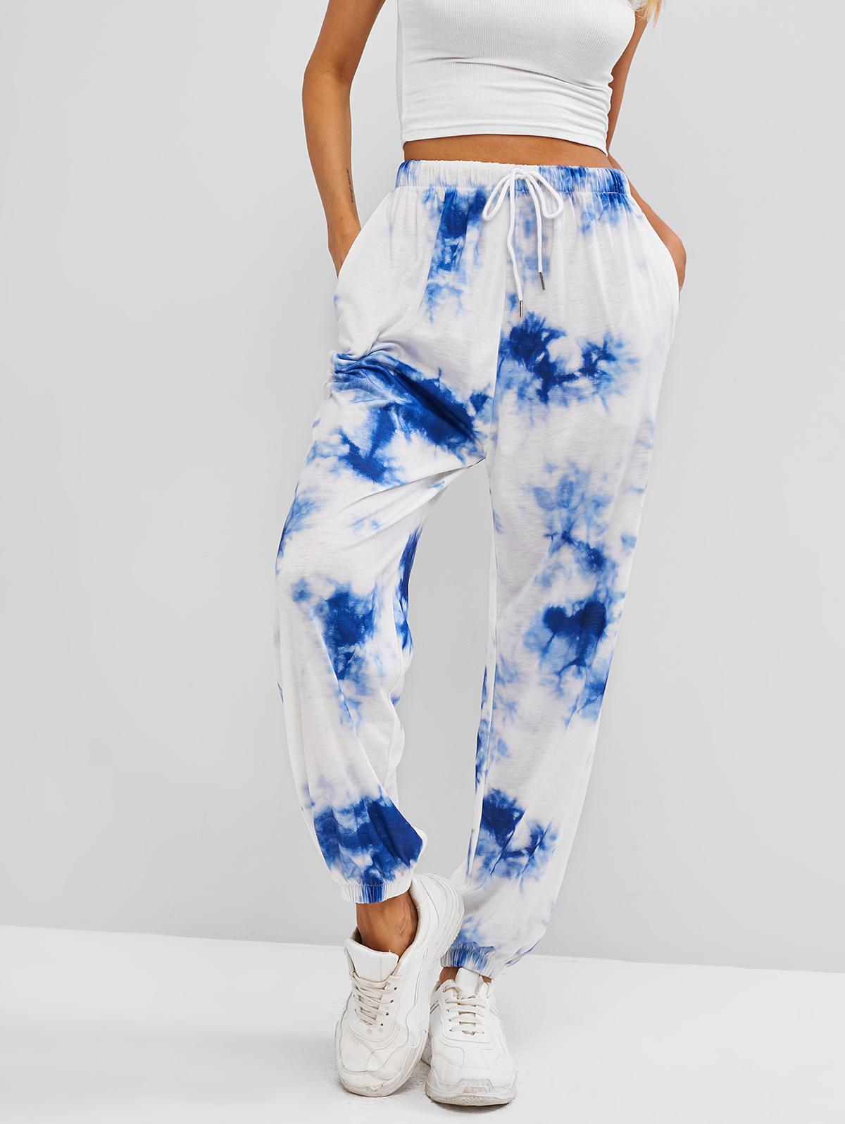 ZAFUL Tie Dye Pocket Drawstring Jogger Pants