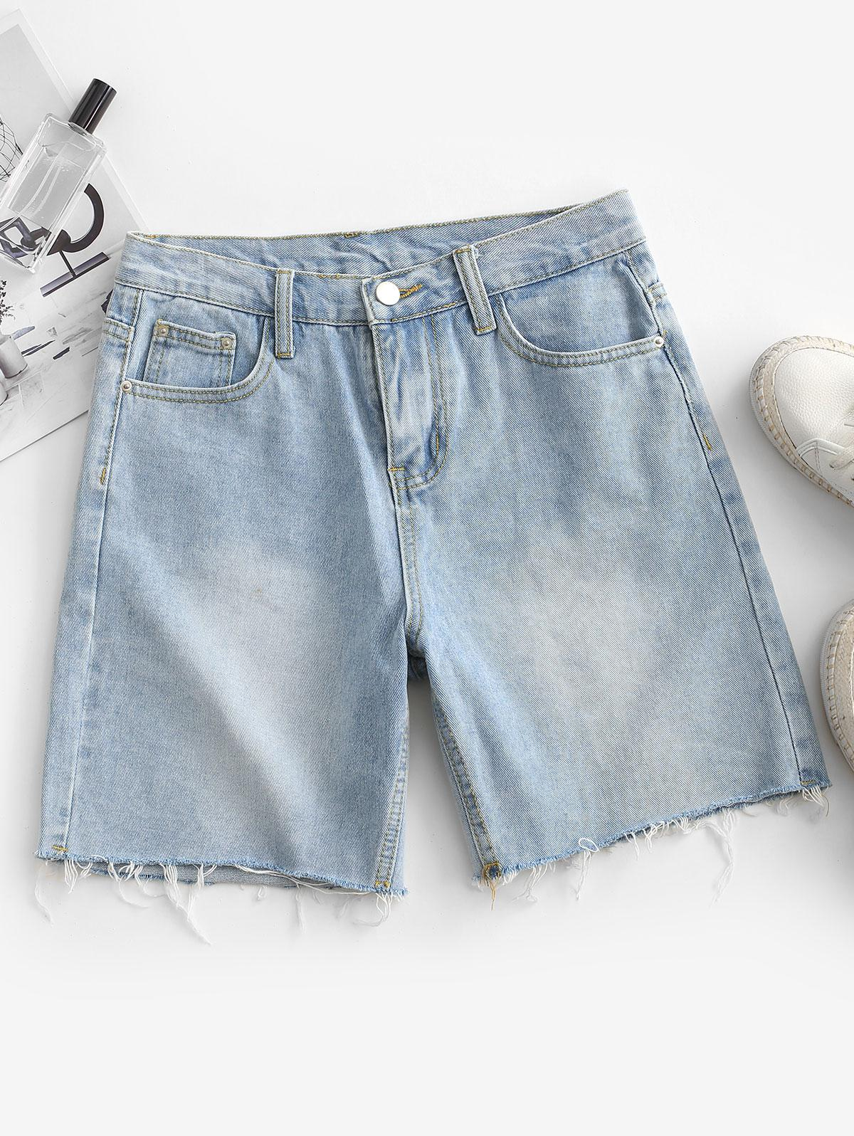 Frayed Hem Denim Bermuda Shorts