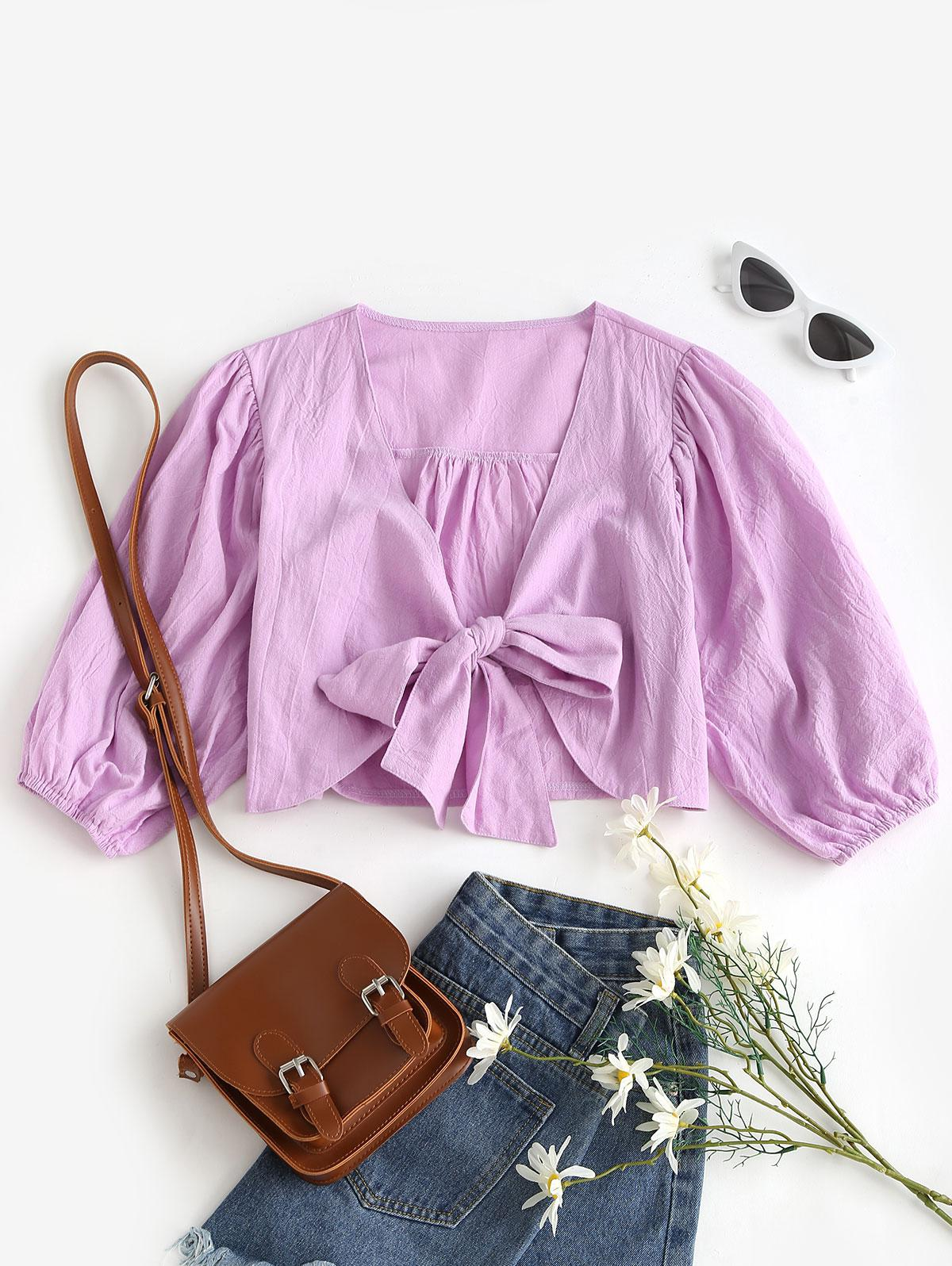 Solid Tie Front Cropped Blouse