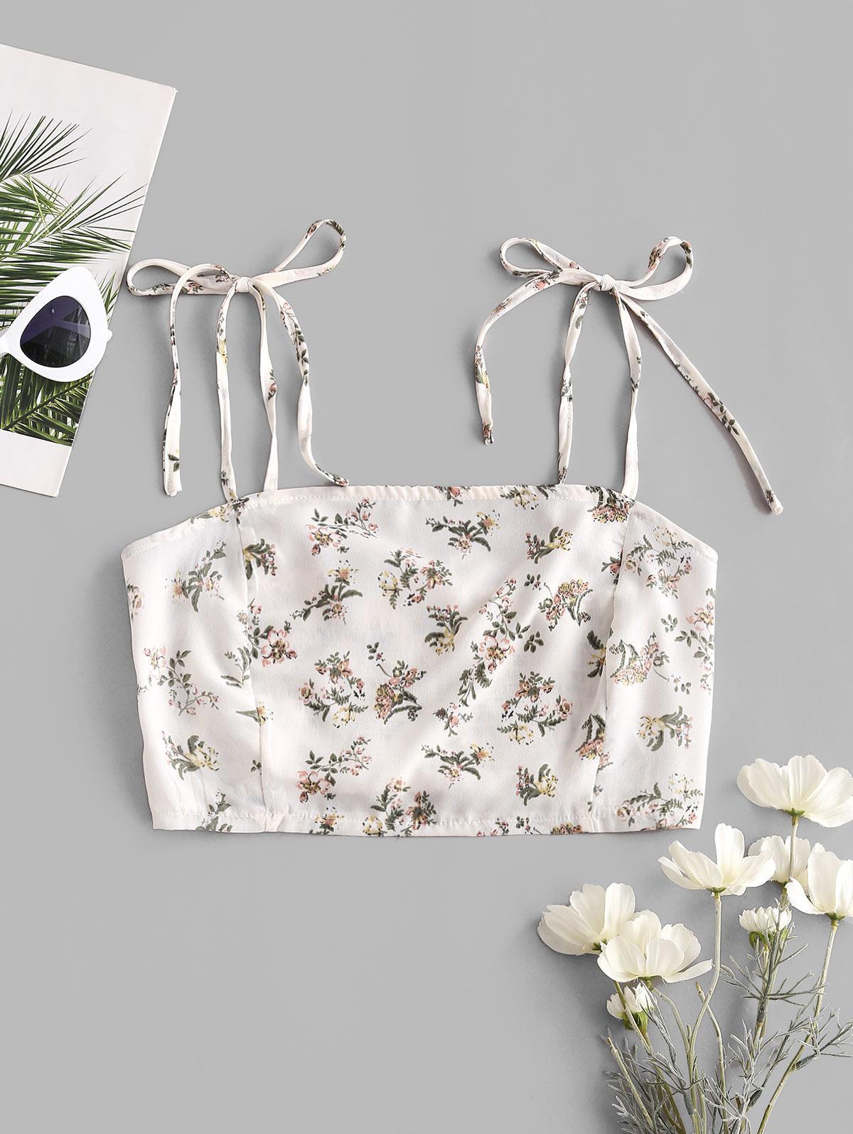 Flower Smocked Back Tie Shoulder Crop Top