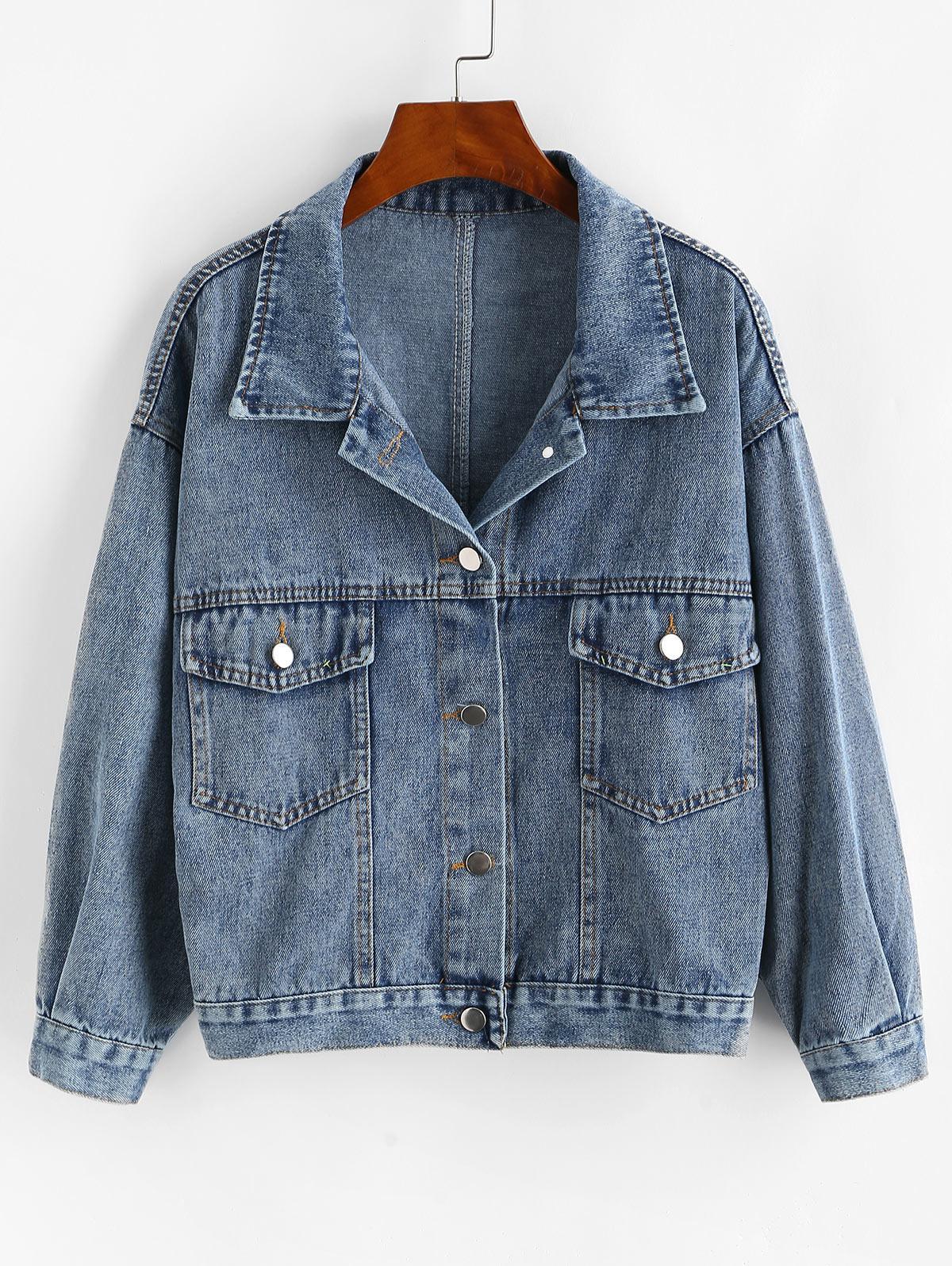 Drop Shoulder Pocket Button Up Denim Jacket