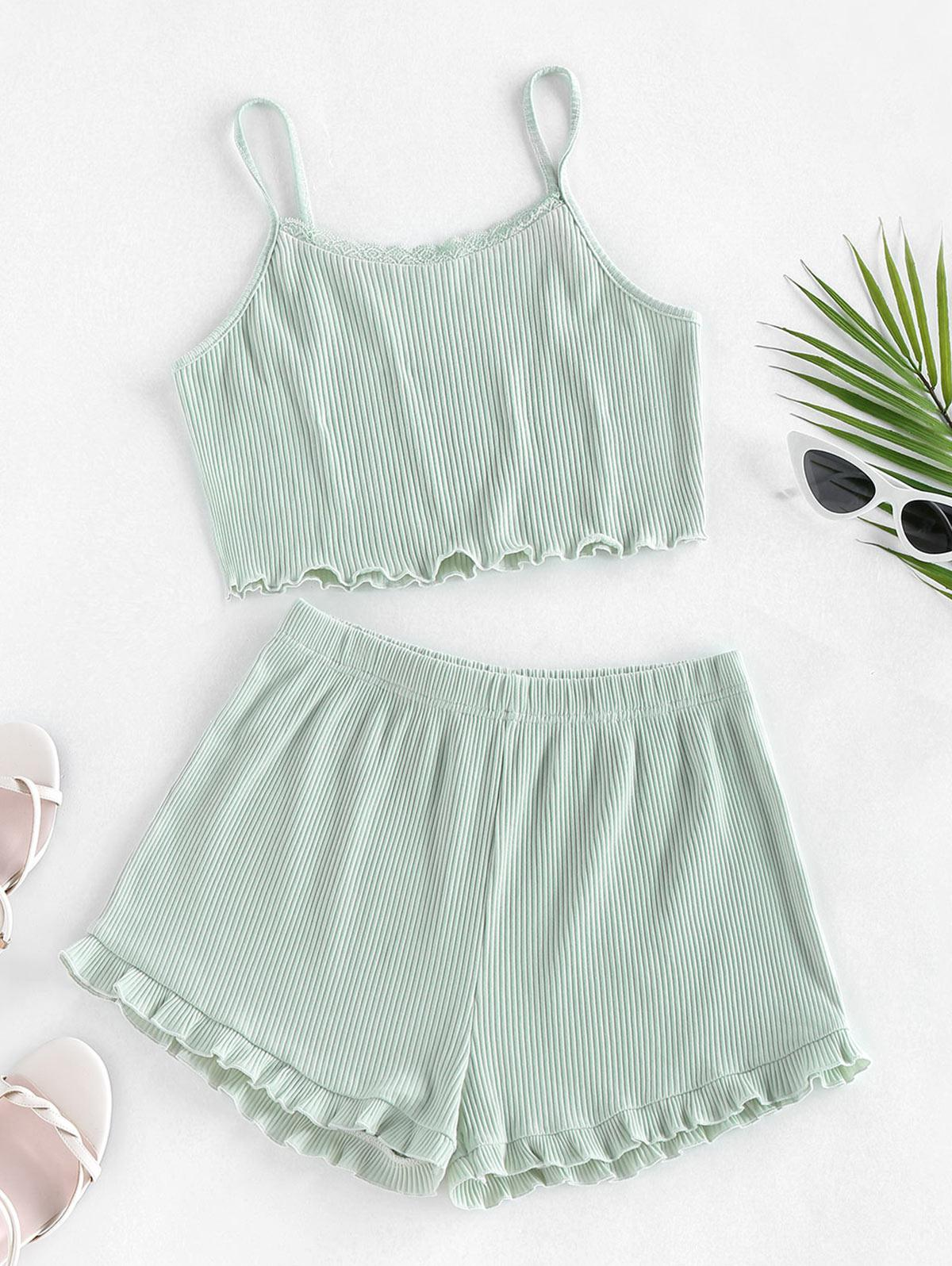 ZAFUL Ribbed Lettuce Trim Two Piece Shorts Set