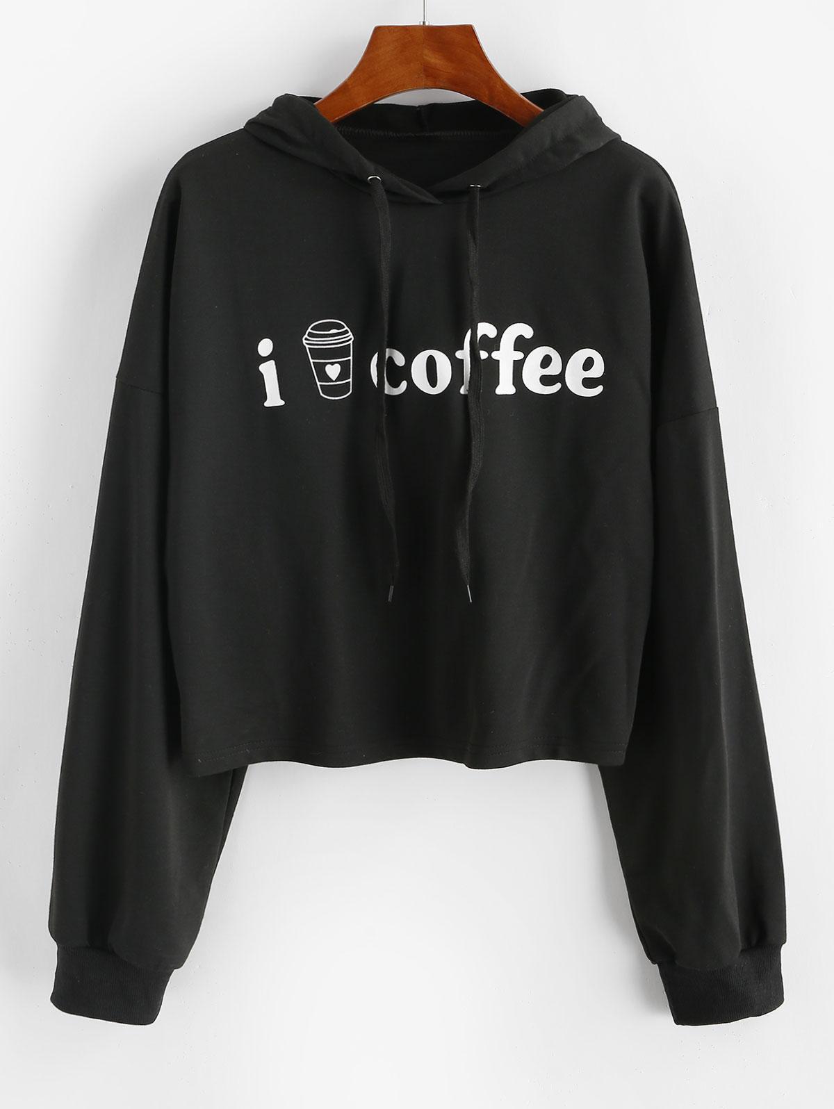 Coffee Graphic Drop Shoulder Drawstring Hoodie