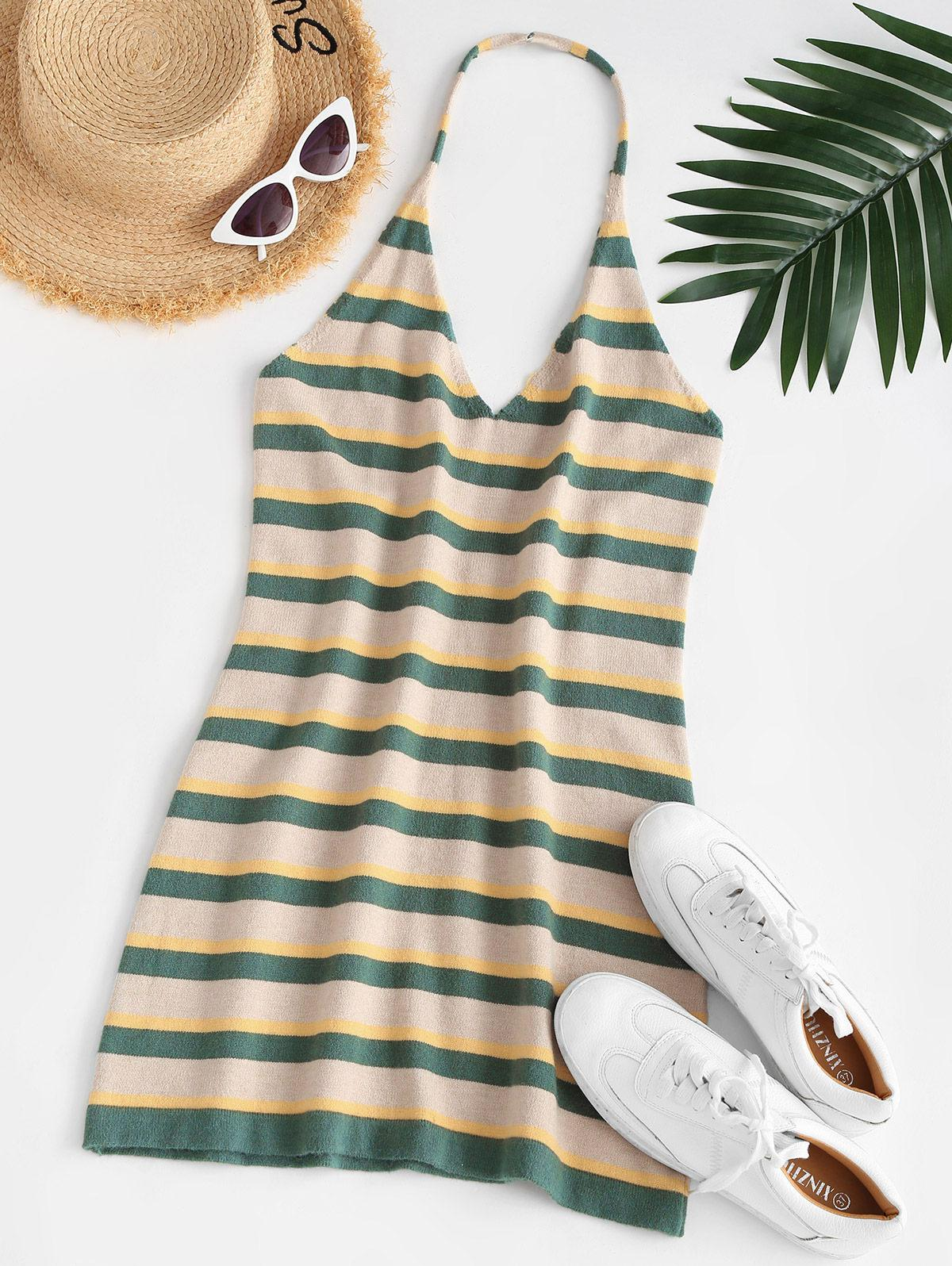 ZAFUL Striped Halter Backless Knitted Dress