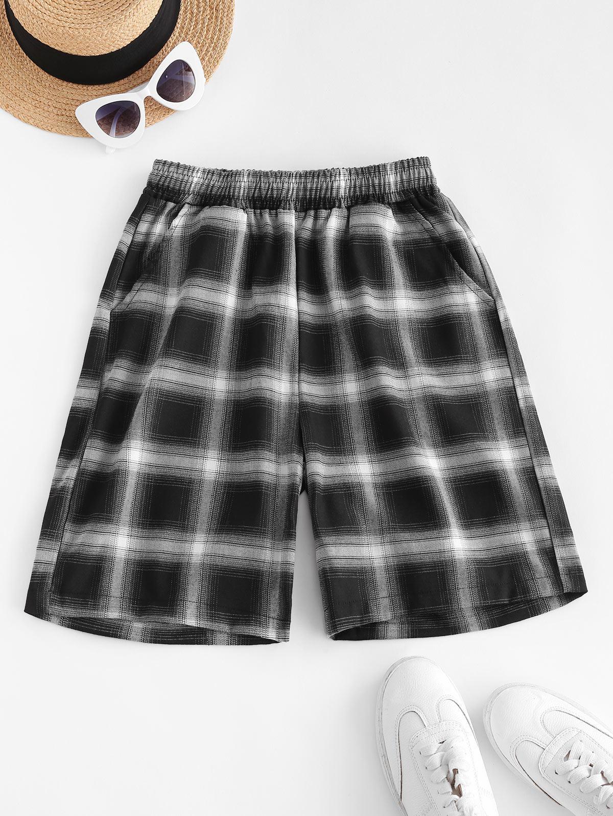 Plaid Pocket High Waisted Bermuda Shorts