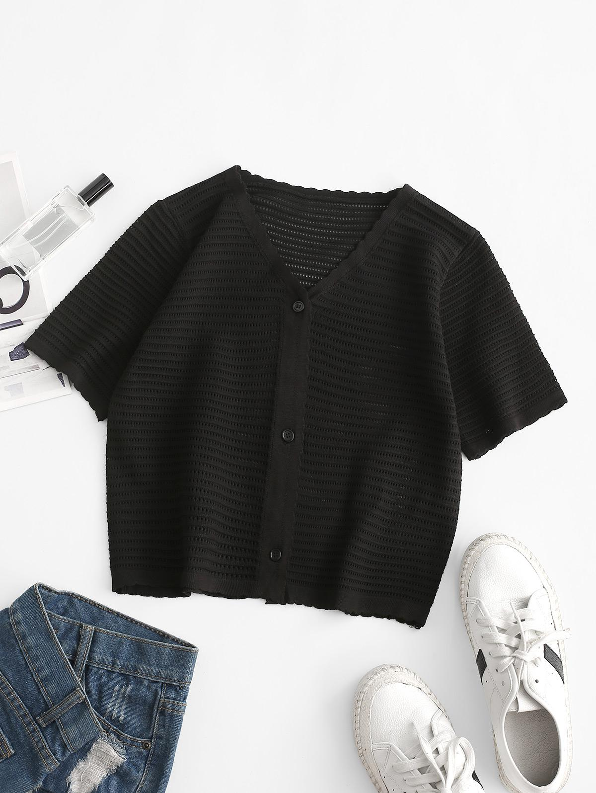 V Neck Button Up Hollow Out Knit T Shirt