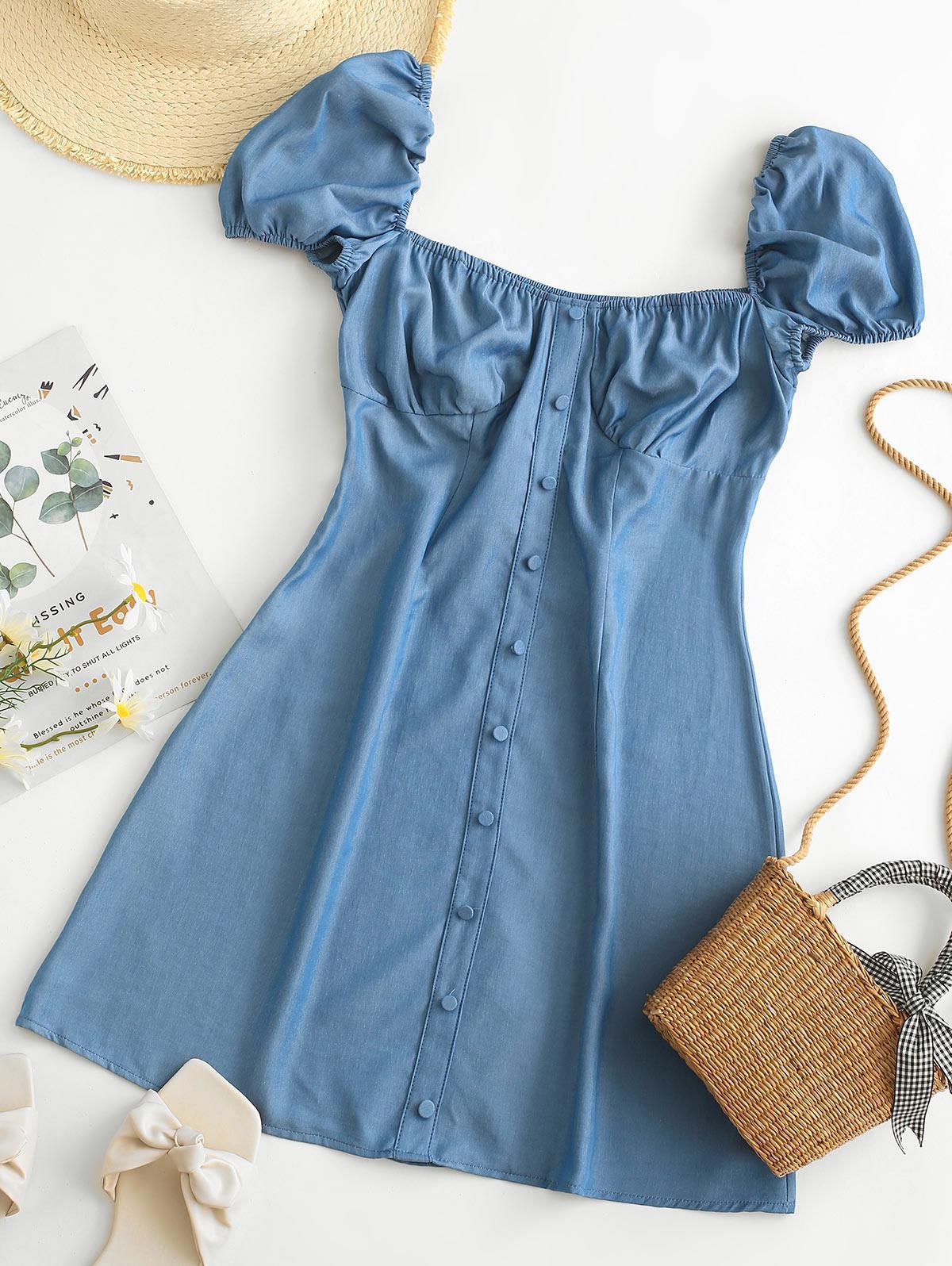 Chambray Milkmaid Bustier Dress