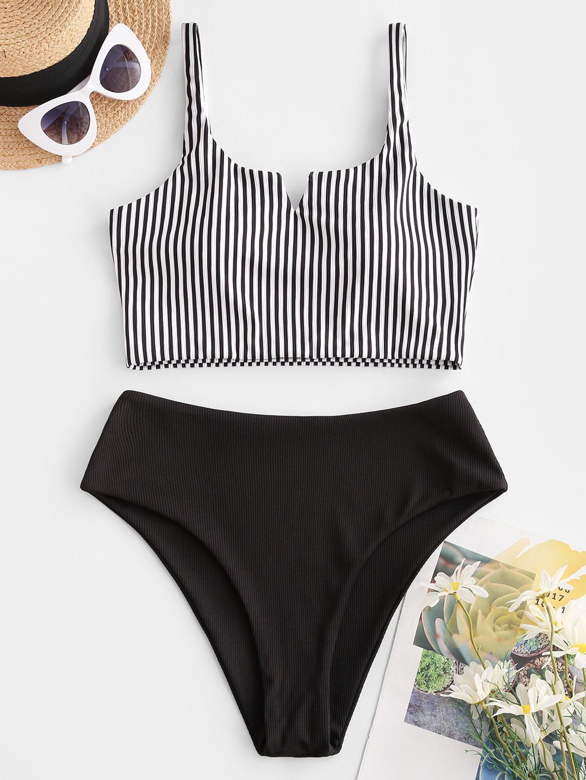 zaful Ribbed Striped Tankini Swimwear