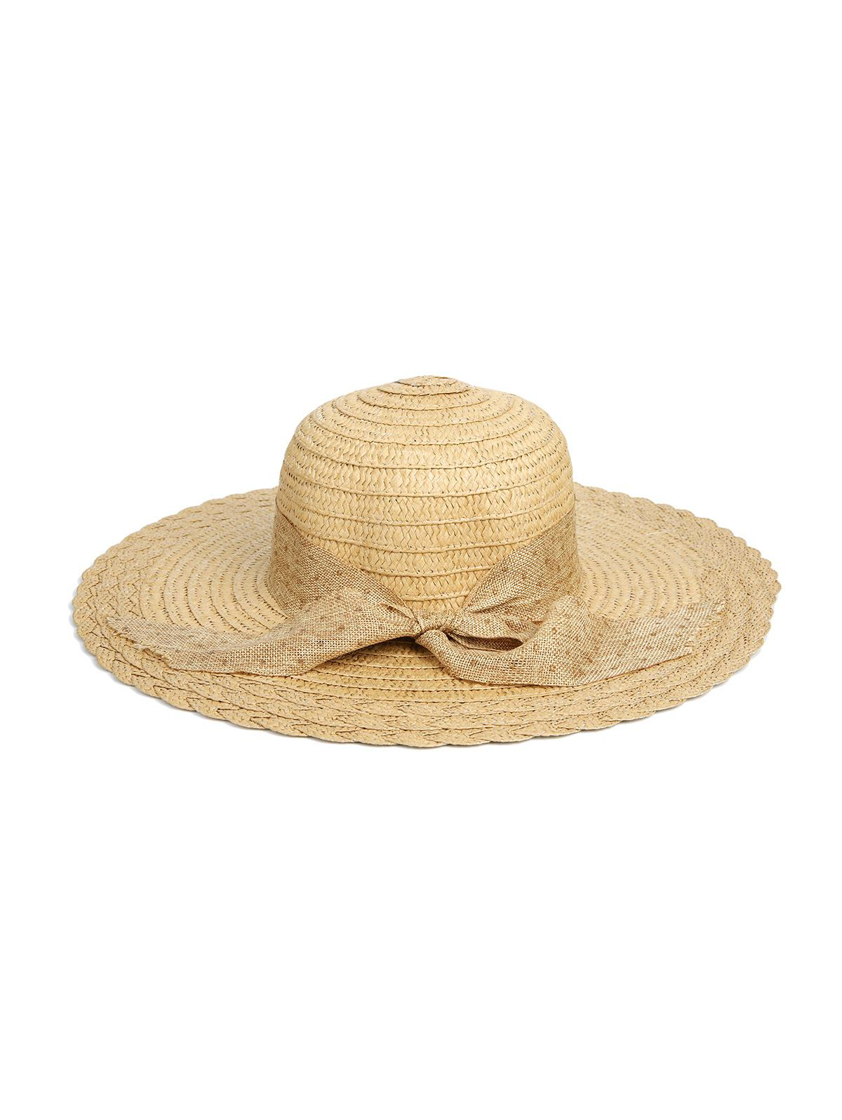 Dots Ribbon Bowknot Straw Hat