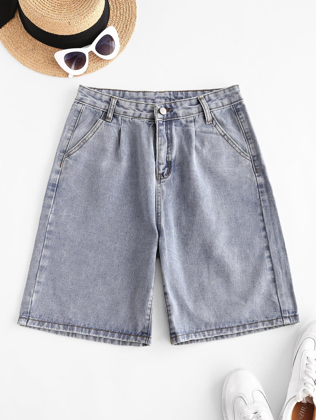 Zipper Fly Pocket Bermuda Denim Shorts