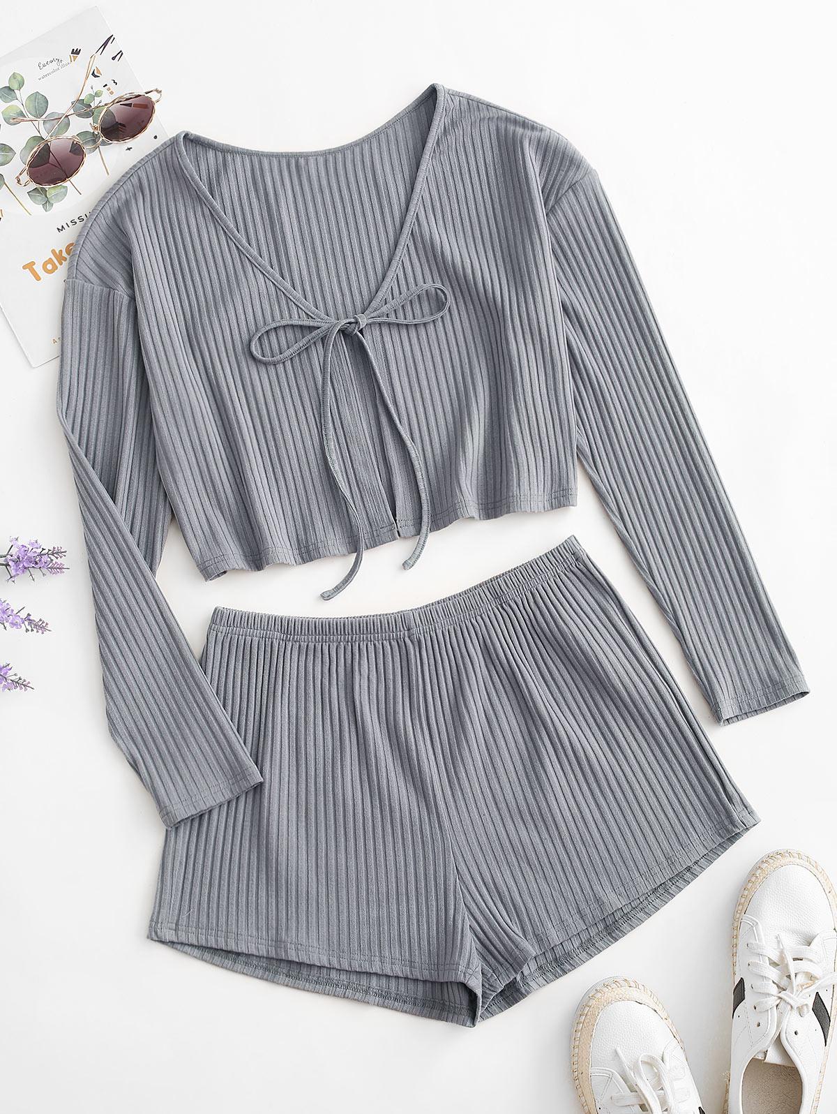 ZAFUL Ribbed Tie Front Plain Pajama Shorts Set