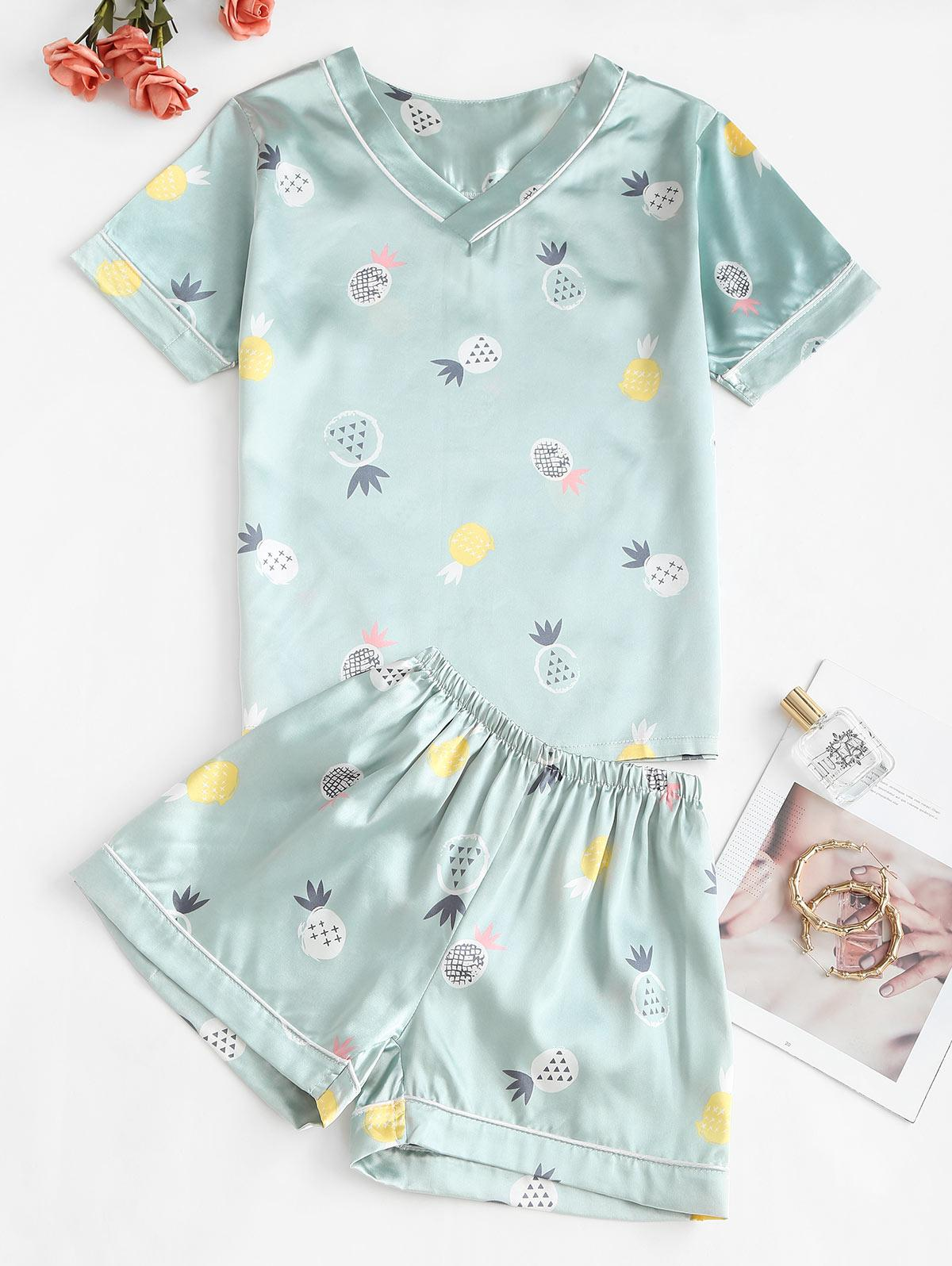 Pineapple Print Satin V Neck Pajama Shorts Set