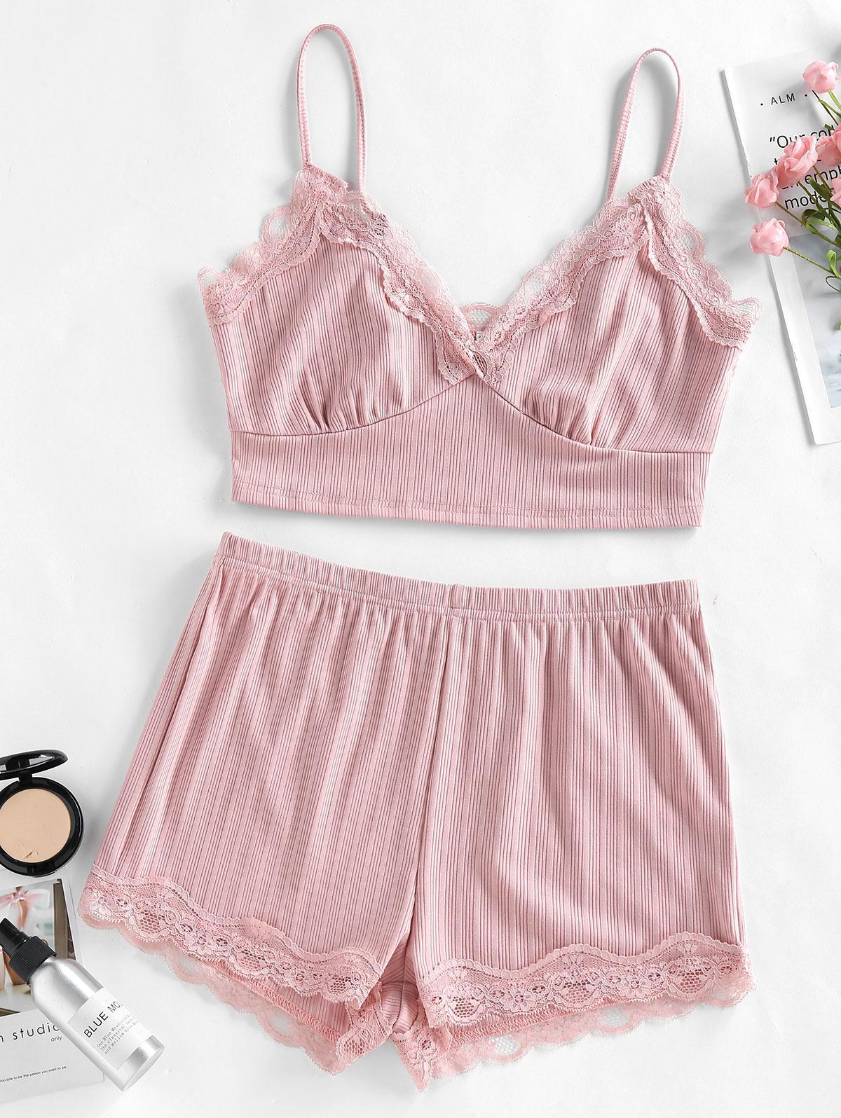 ZAFUL Lace Insert Ribbed Pajama Shorts Set