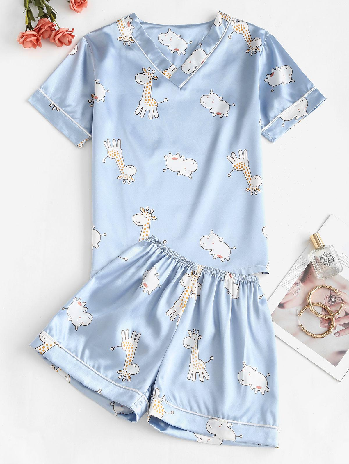Giraffe Print Satin Pajama Shorts Set