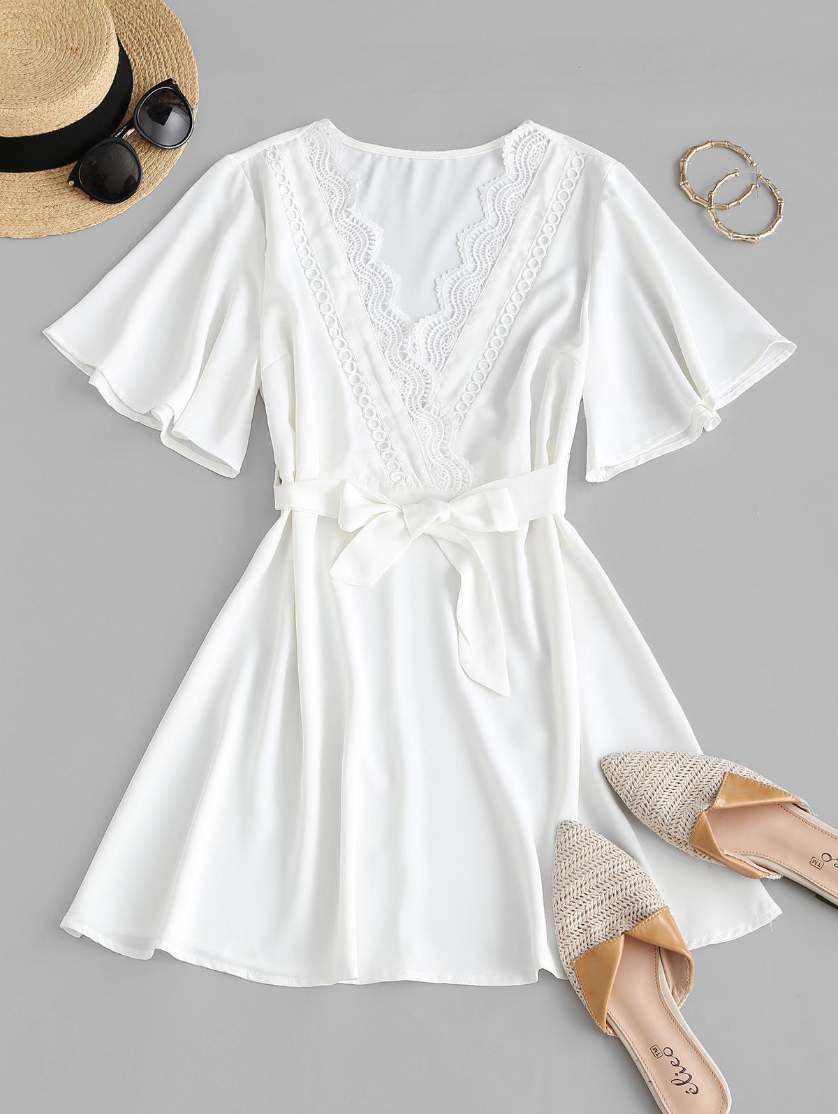Guipure Lace Surplice Flutter Sleeve Belted Dress