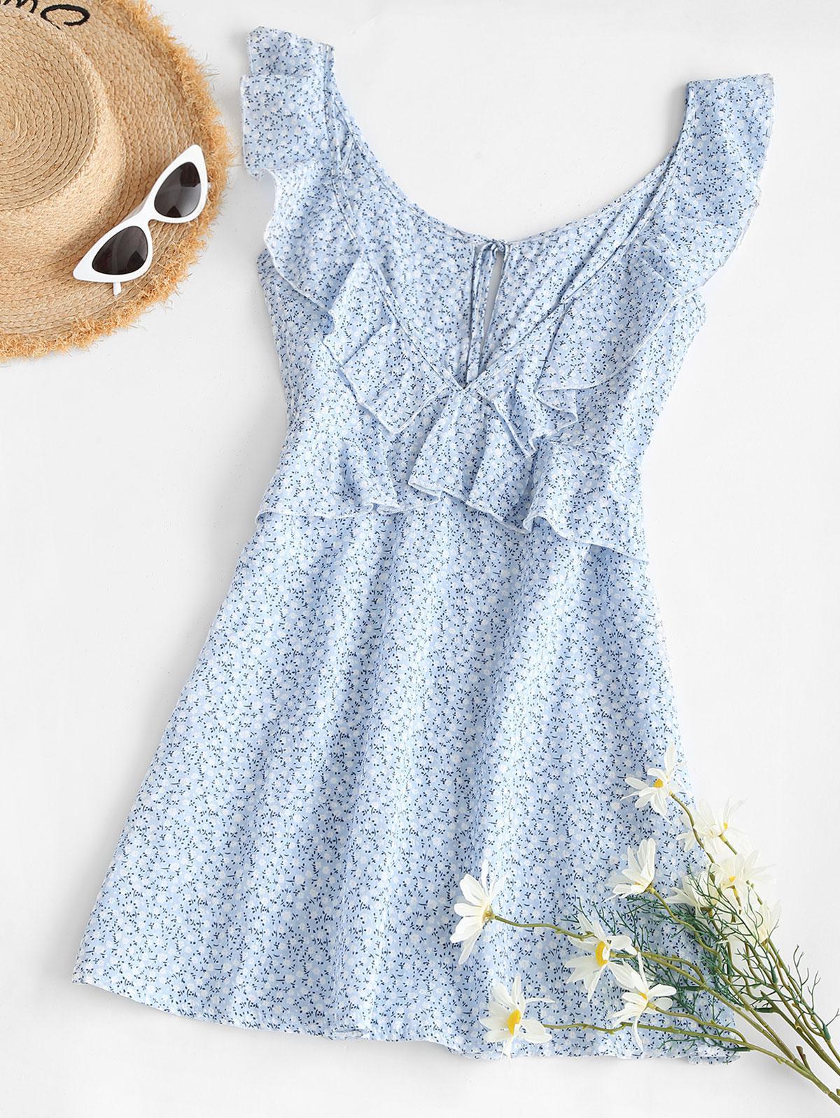 Ditsy Print Tie Ruffle Backless Peplum Dress