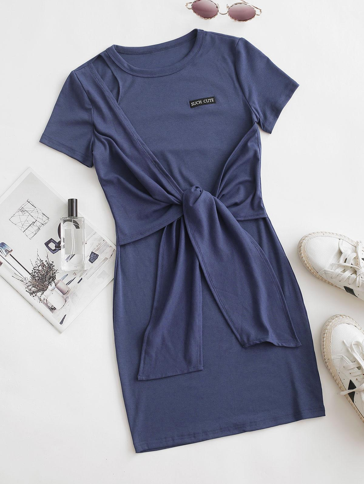 Such Cute Embroidered Tie Front Tee Dress