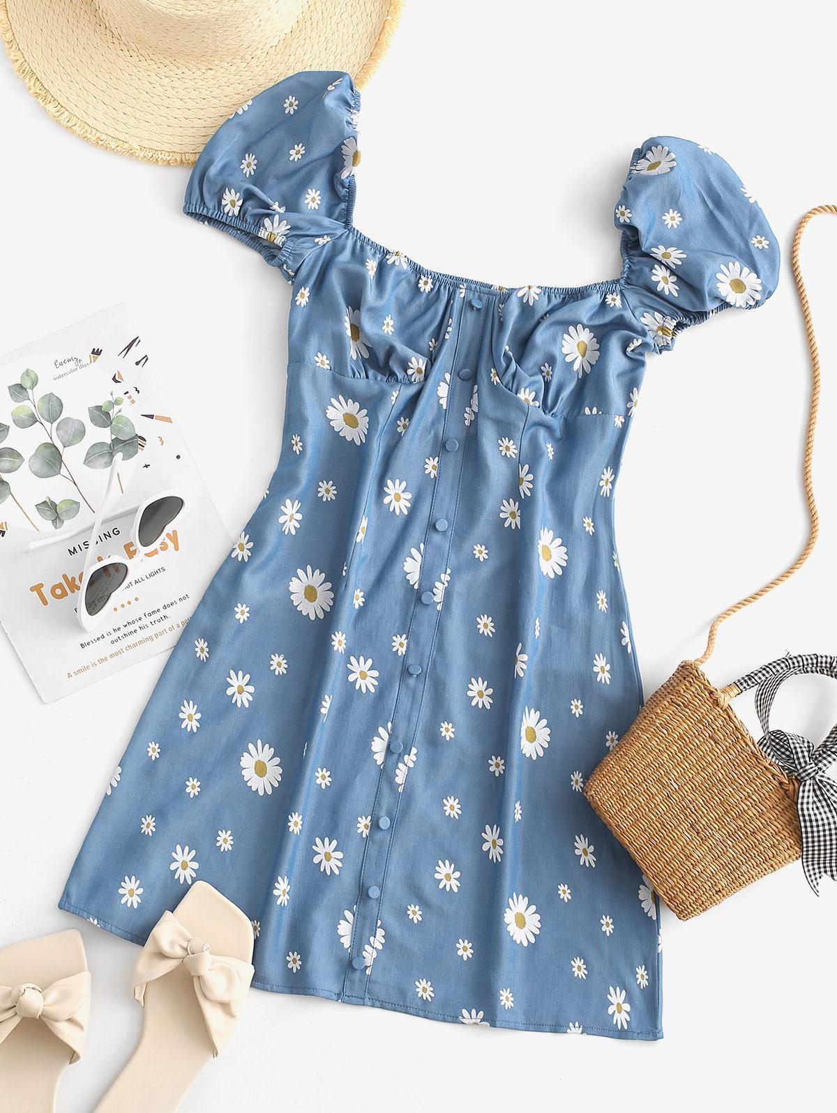 Daisy Print Chambray Milkmaid Bustier Dress