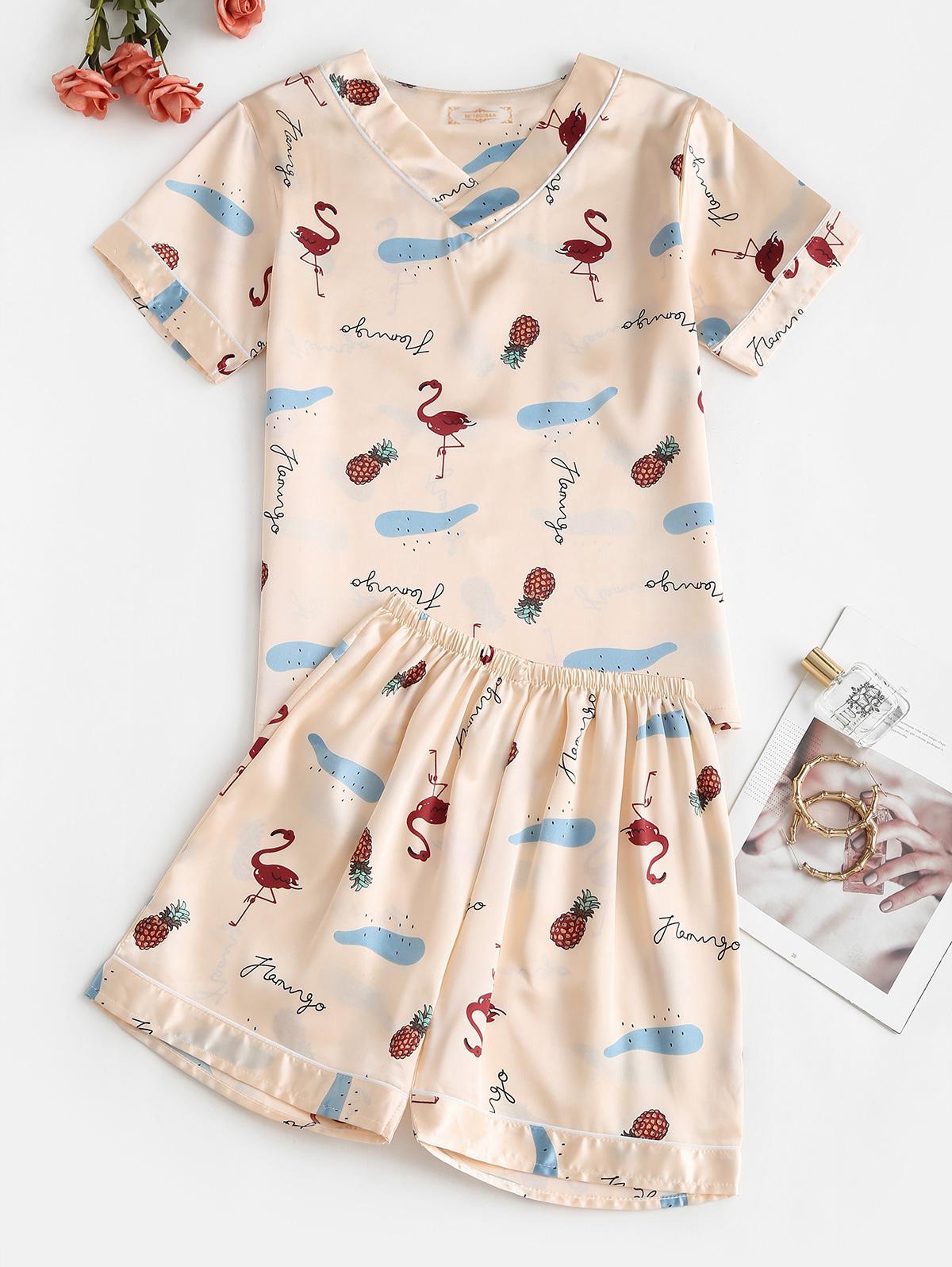 Flamingo Pineapple Print Satin V Neck Pajama Shorts Set