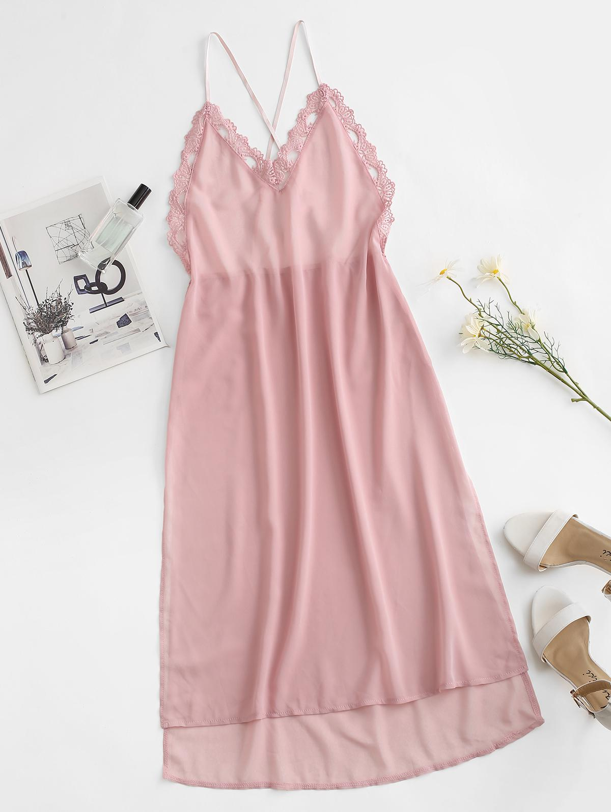 Lace Trim Criss Cross Slit High Low Sleep Dress