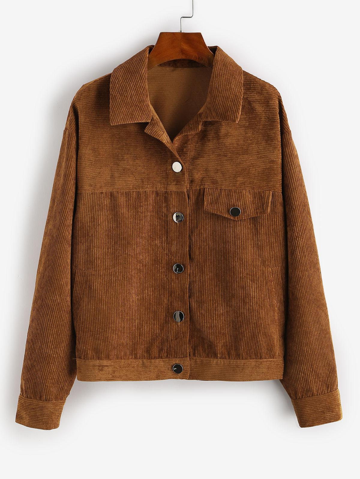 ZAFUL Flap Pocket Corduroy Jacket