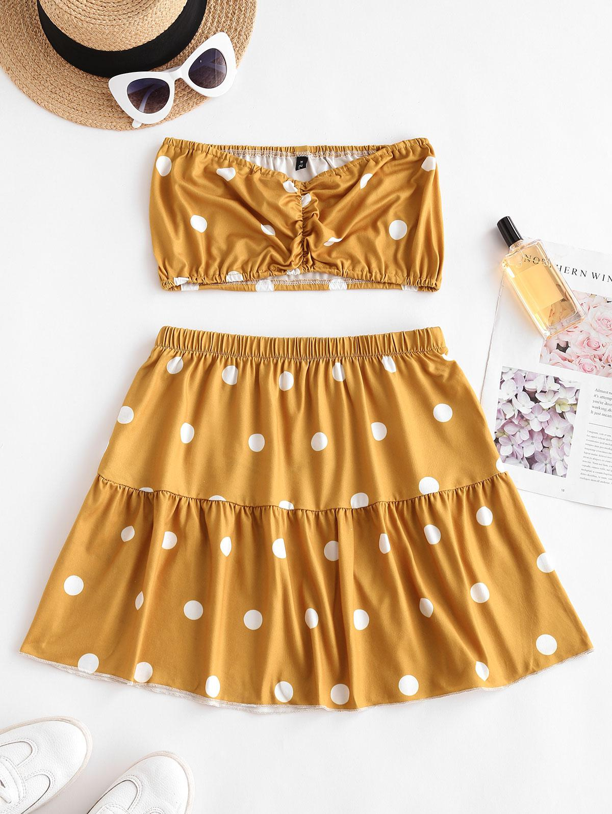 Polka Dot Ruched Strapless Tiered Skirt Set