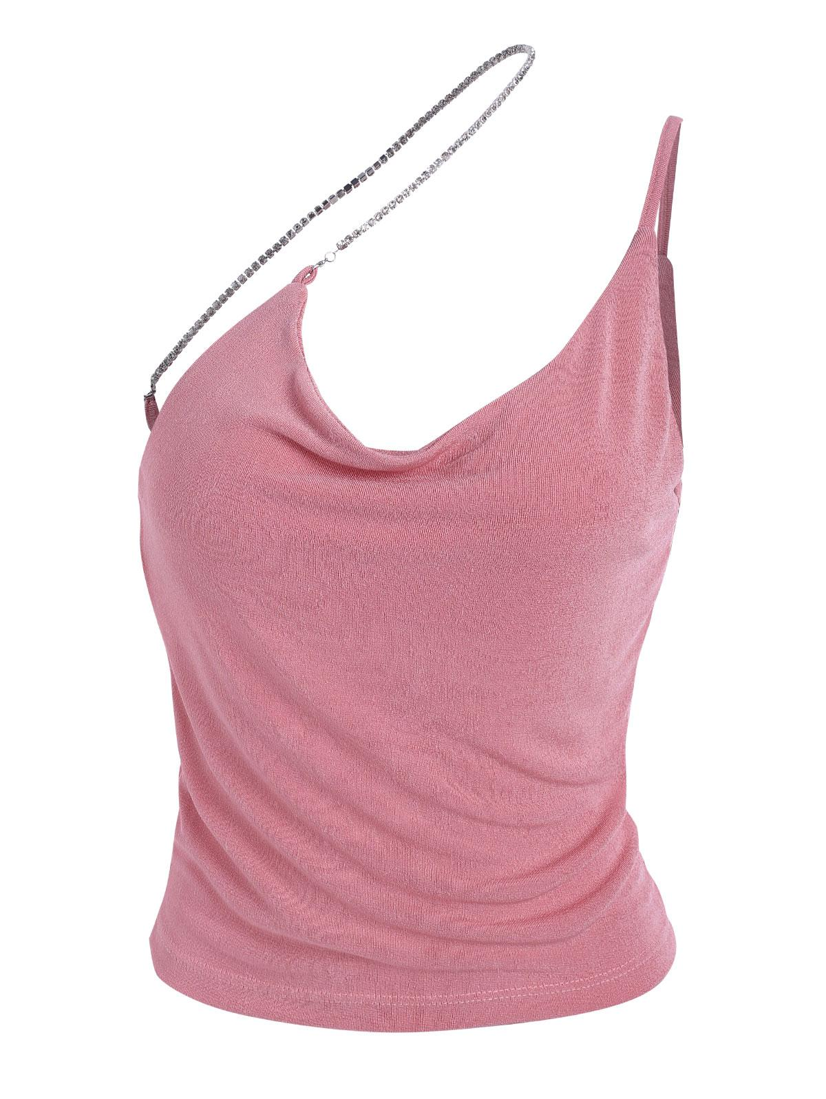 One Shoulder Diamante Strap Backless Tank Top
