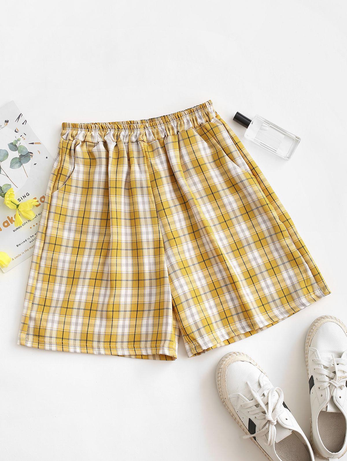 Plaid Slant Pockets Bermuda Shorts