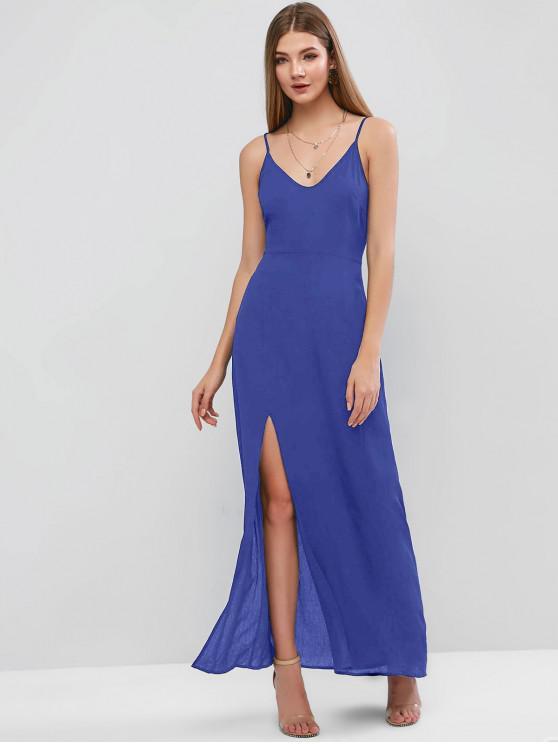 new ZAFUL Slit Maxi Cami Dress - BLUE XL