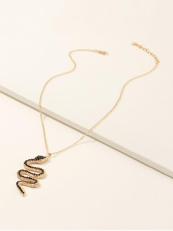 Rhinestone Snake Pendant Necklace - ذهبي