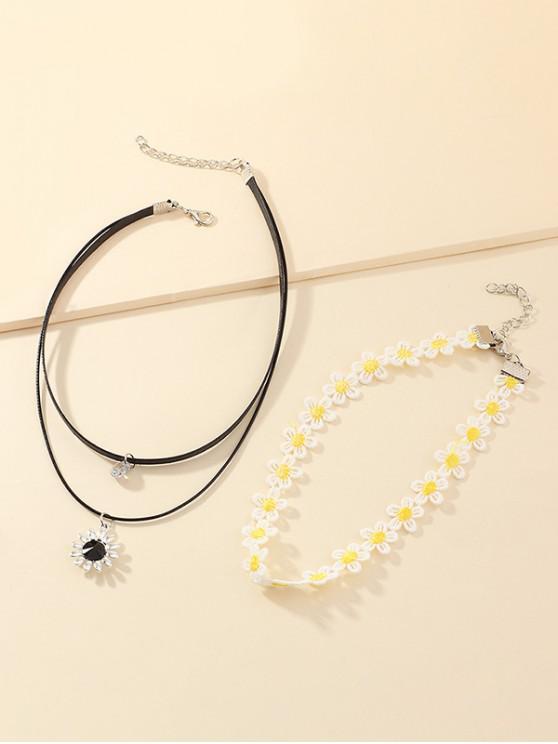2Pcs Sunflower Choker Necklace Set - متعددة-A